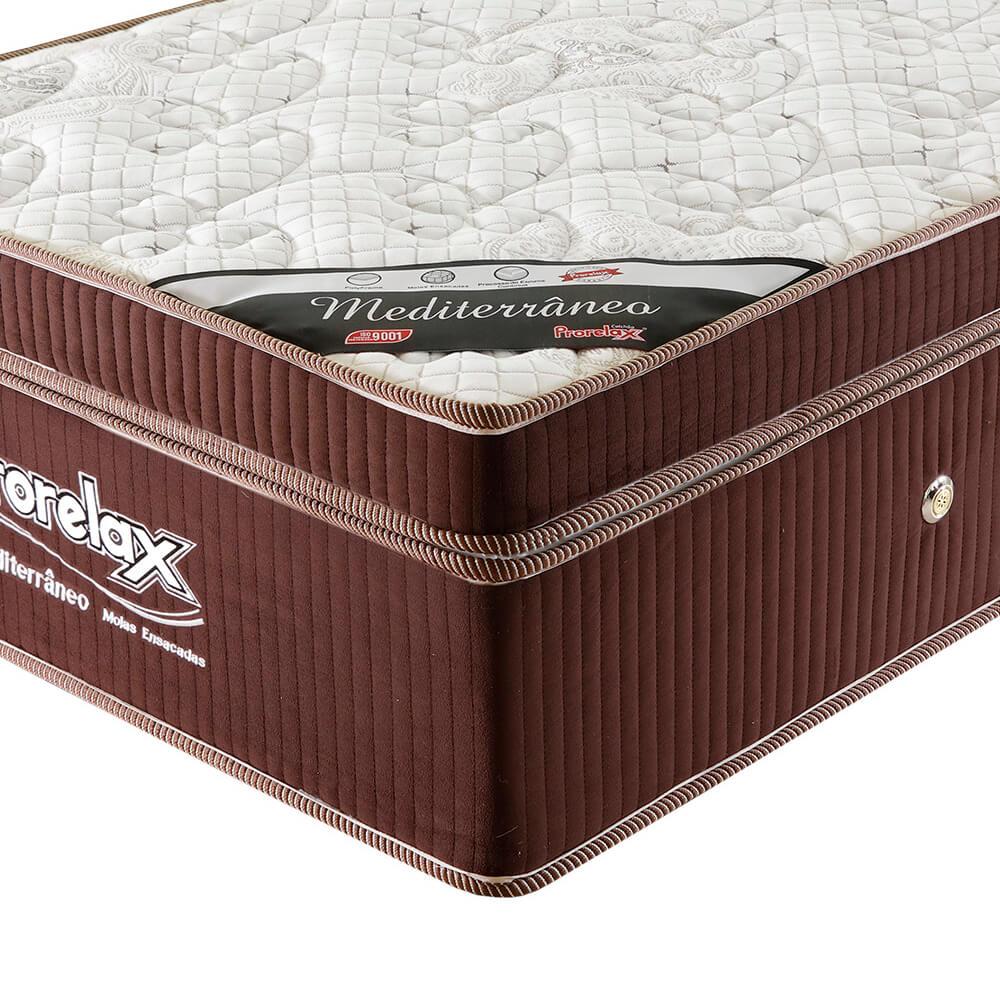 Colchão Solteiro Prorelax Mediterrâneo 96x203x32 Molas Ensacadas Euro Pillow One Face - Marrom