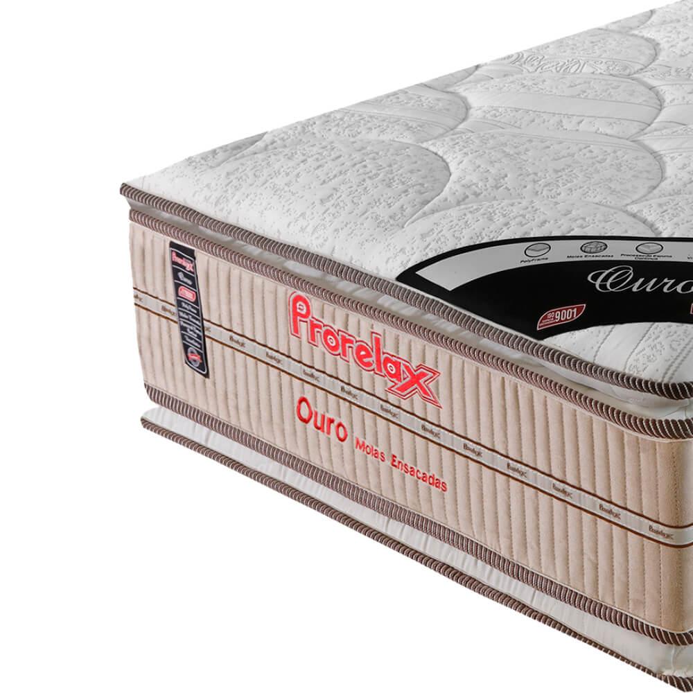 Colchão Solteiro Prorelax Ouro 78x188x32 Molas Ensacadas Pillow Top Viscoelástico Double Face