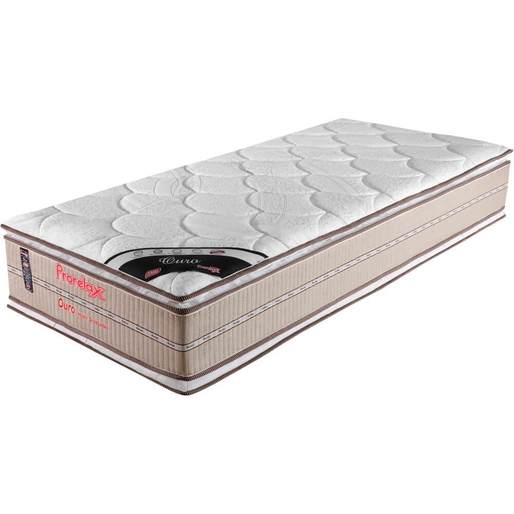 Colchão Solteiro Prorelax Ouro 88x188x32 Molas Ensacadas Pillow Top Viscoelástico Double Face