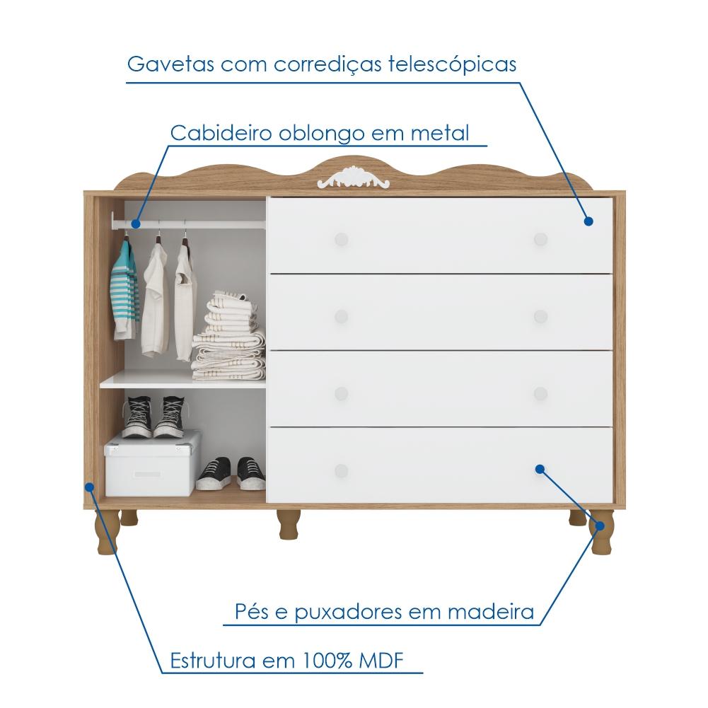 Cômoda de Bebê com Sapateira Sonhare Móveis Fiorello 4 Gavetas 1 Porta - Duetto/Branco Acetinado