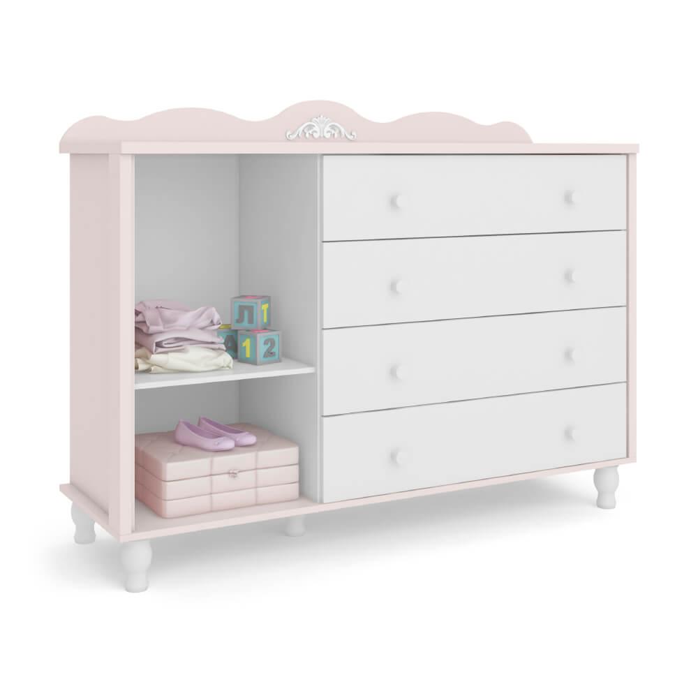 Cômoda de Bebê Sonhare Móveis Fiorello com Sapateira 4 Gavetas 1 Porta - Rose Quartz