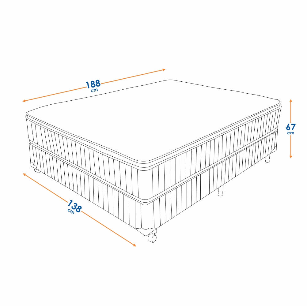 Cama Box Casal (Box + Colchão) Prorelax Brilhante 138x188 Molas Ensacadas Pillow Top Turn Free - Marrom