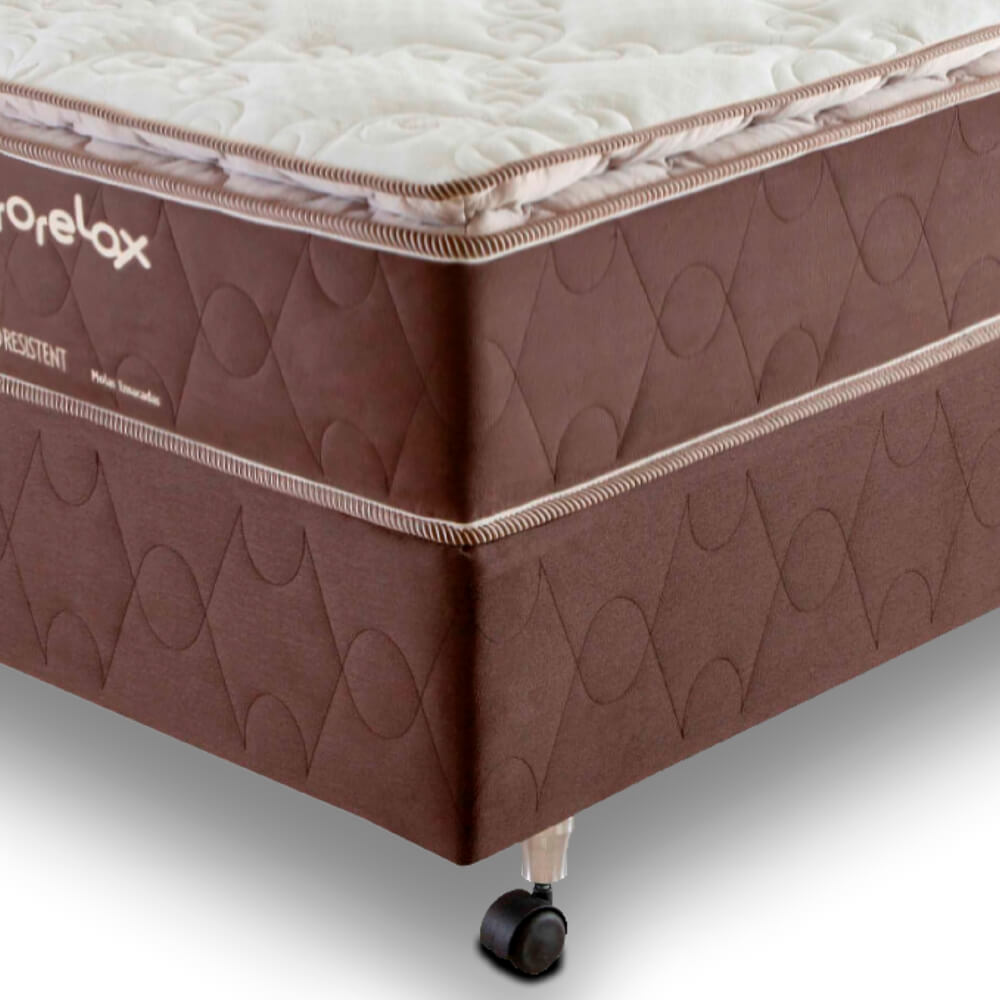 Cama Box Solteiro (Box + Colchão) Prorelax Pro Resistent 88x188 Pillow Top Turn Free