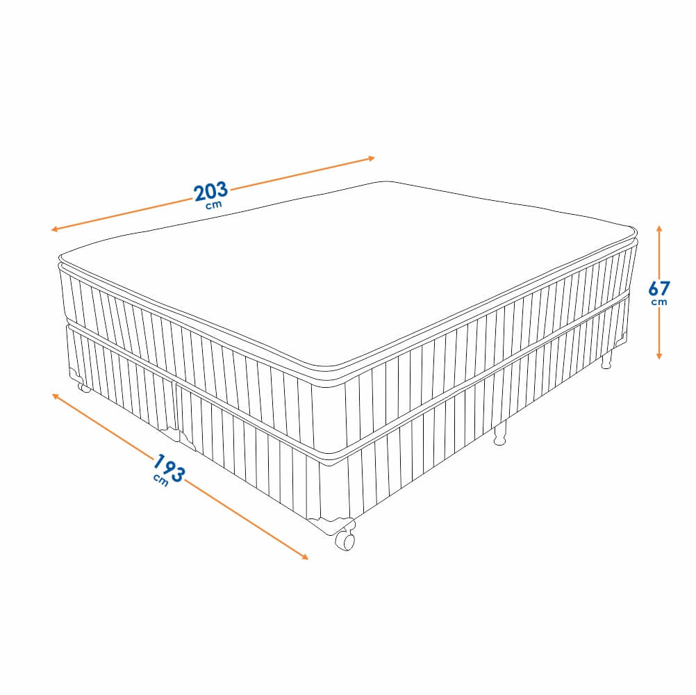 Cama Box King Size (Box + Colchão) Prorelax Brilhante 193x203 Molas Ensacadas Pillow Top Turn Free - Marrom