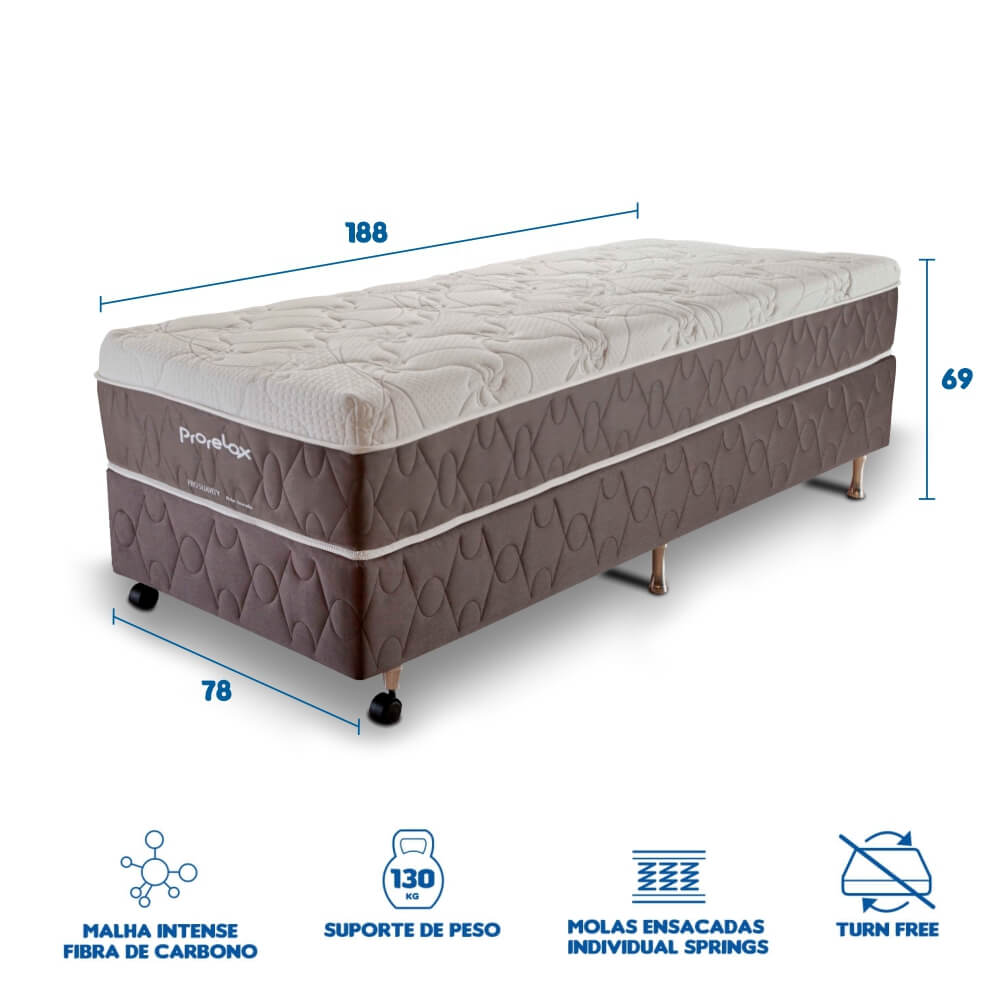Cama Box Queen Size (Box + Colchão) Prorelax Pro Suavity 96x203 Pillow Top Turn Free
