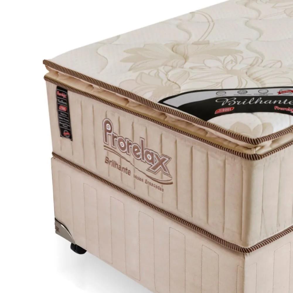 Cama Box Solteiro (Box + Colchão) Prorelax Brilhante 96x203 Molas Ensacadas Pillow Top Turn Free - Bege