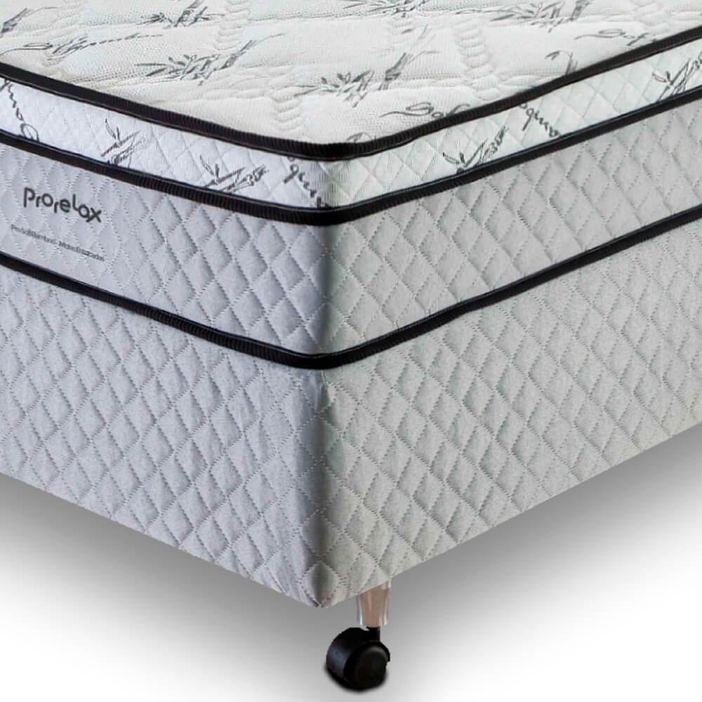 Cama Box Solteiro (Box + Colchão) Prorelax Pro Soft Bamboo 88x188 Euro Top Turn Free