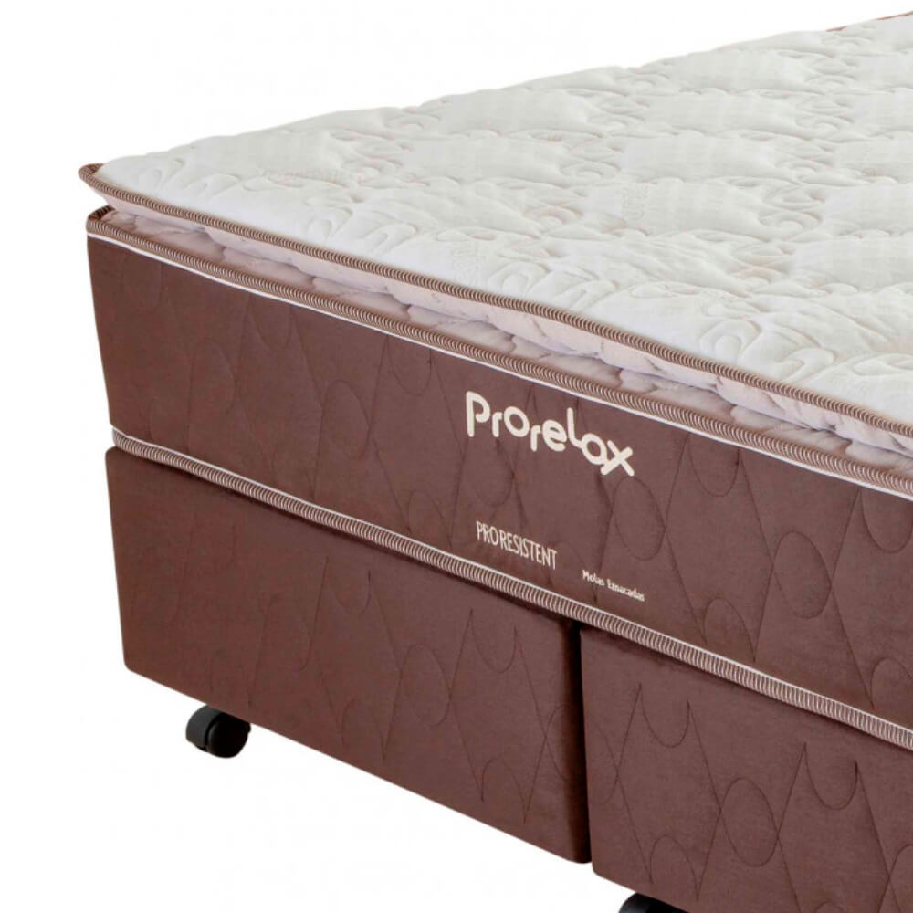 Cama Box Queen Size (Box + Colchão) Prorelax Pro Resistent 158x198 Pillow Top Turn Free