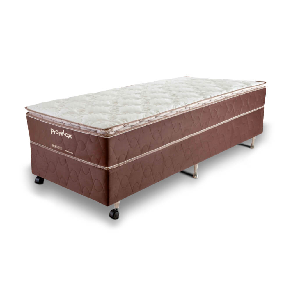 Cama Box Solteiro (Box + Colchão) Prorelax Pro Resistent 96x203 Pillow Top Turn Free