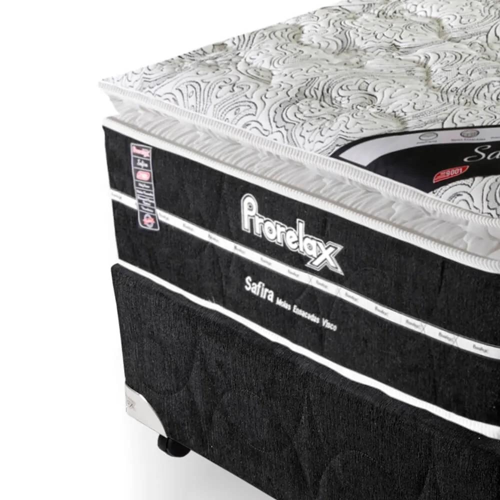 Cama Box Solteiro (Box + Colchão) Prorelax Safira 78x188 Molas Ensacadas Pillow Top Viscoelástico