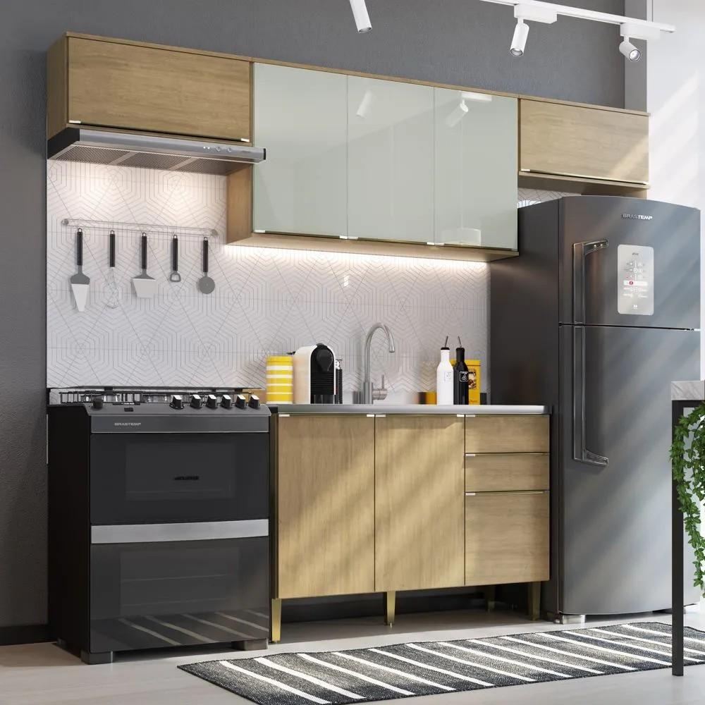 Cozinha Compacta Áustria Casamia A2865 4 Peças Nogueira