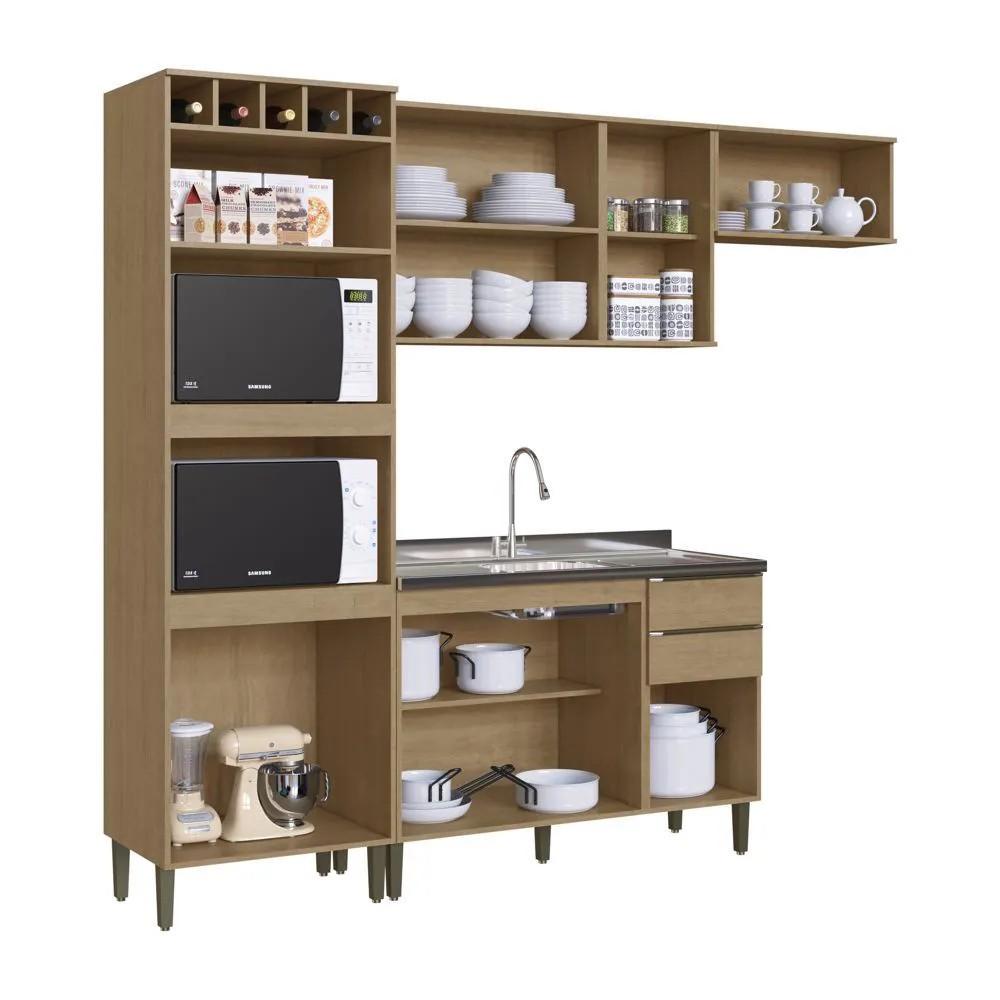 Cozinha Compacta Áustria Casamia A2866 4 Peças Nogueira