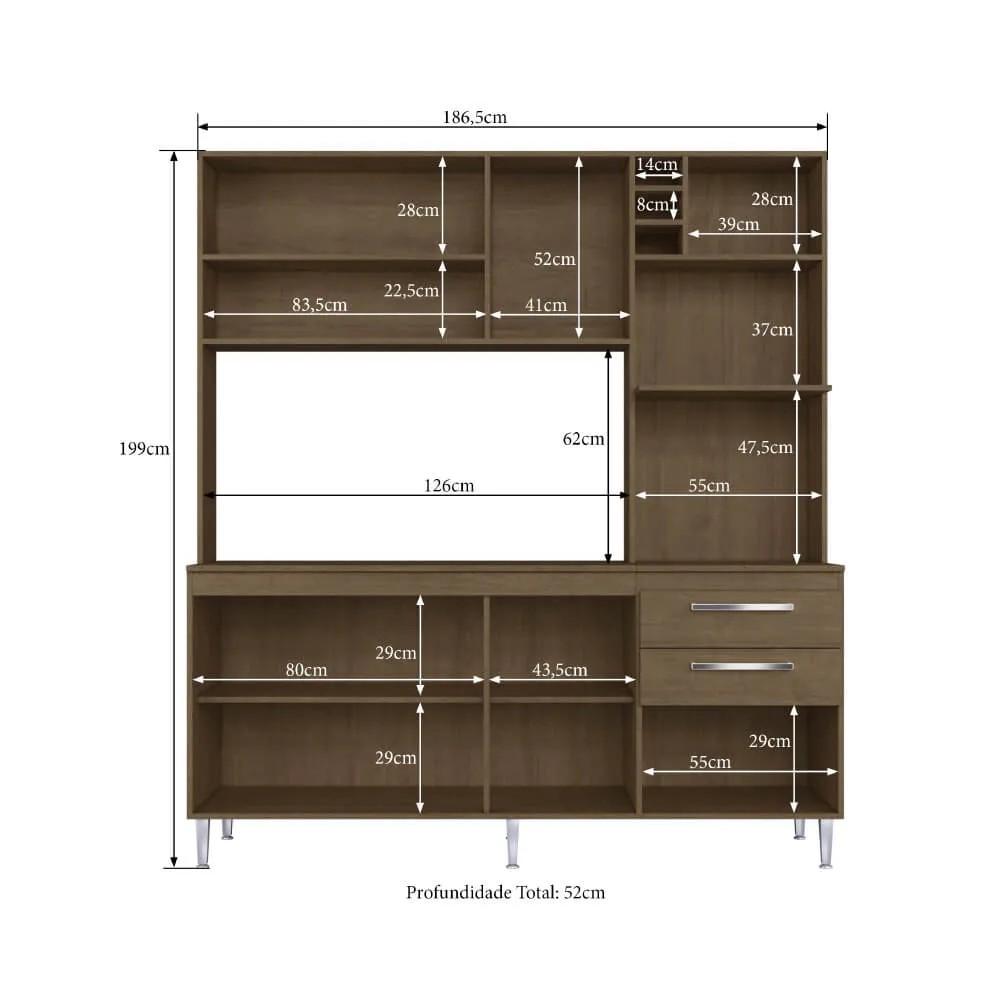 Cozinha Compacta Blume Casamia 8 Portas 2 Gavetas - Dark