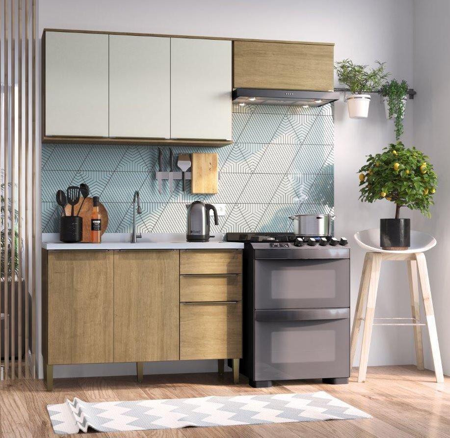 Cozinha Compacta Áustria Casamia A2864 3 Peças Nogueira