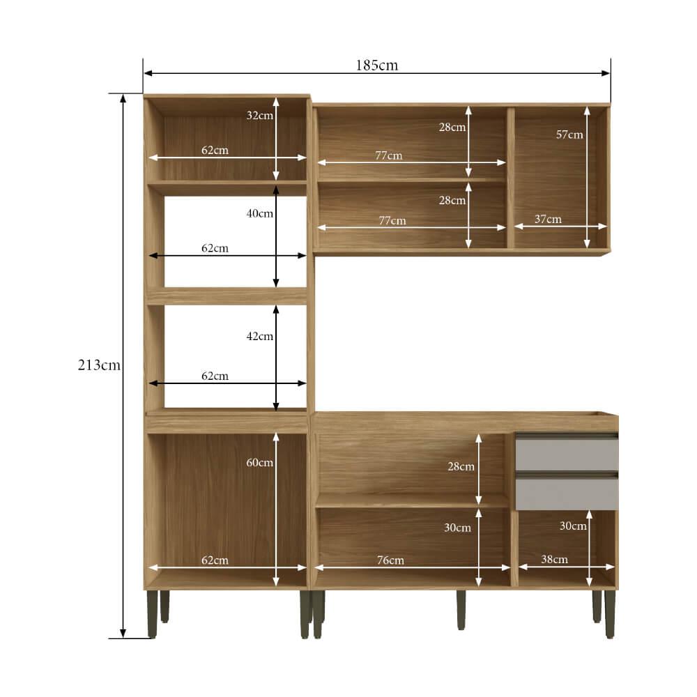 Cozinha Compacta Casablanca A3494 Casamia 3 Peças 10 Portas e 2 Gavetas - Mel/Off White