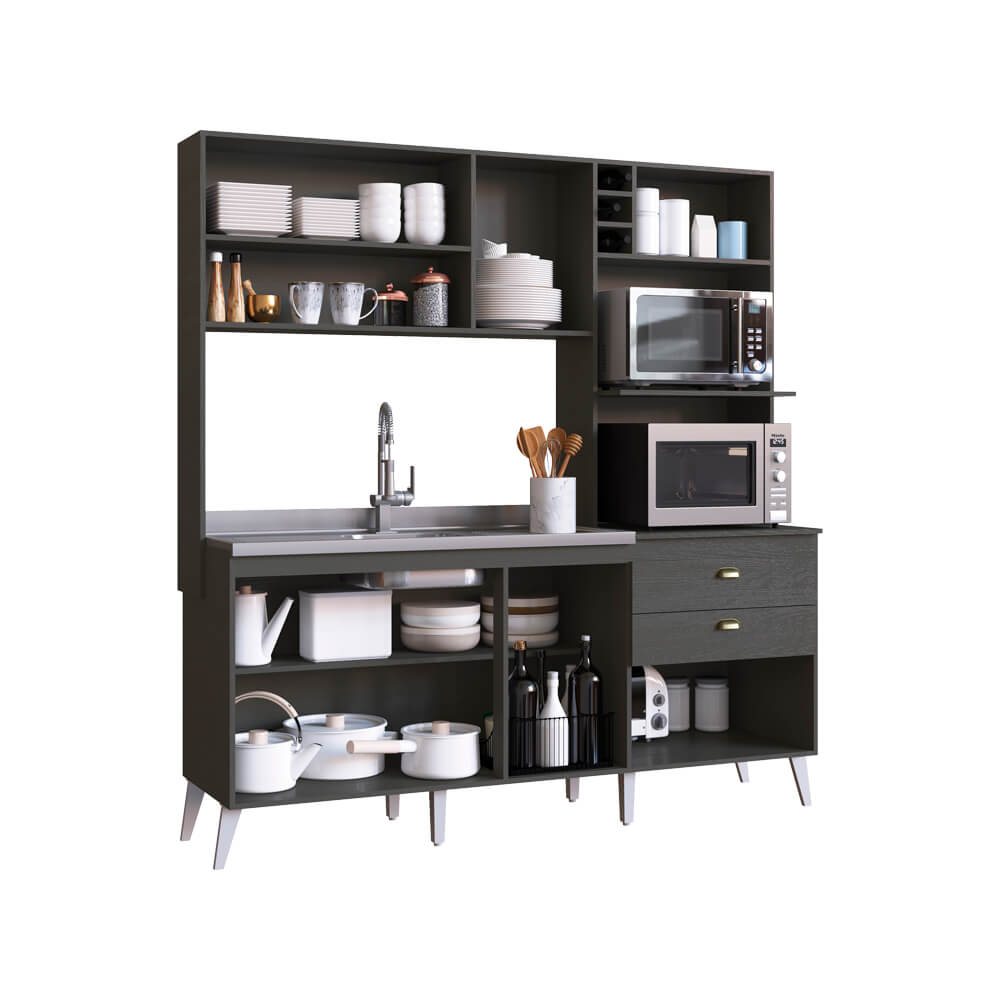 Cozinha Compacta Donna Casamia 8 Portas 2 Gavetas Grafite Touch/Snow