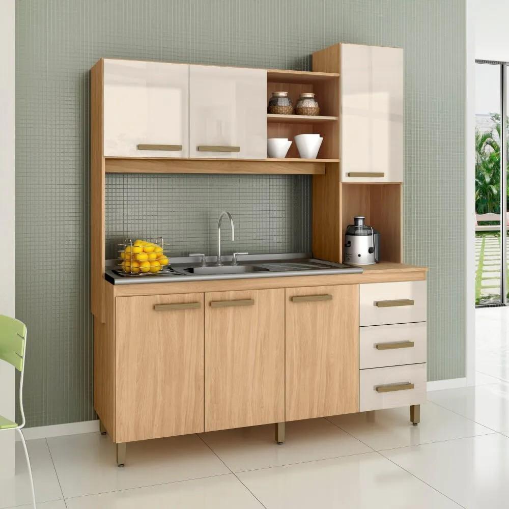 Cozinha Compacta Florence Mapi Móveis 6 Portas e 3 Gavetas - Amêndoa/Avelã