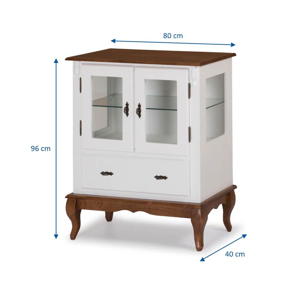 Cristaleira com 2 Portas e Laterais em Vidro Pés Luis XV 60312 Linz Móveis - Laca Branca/Imbuia Glazer
