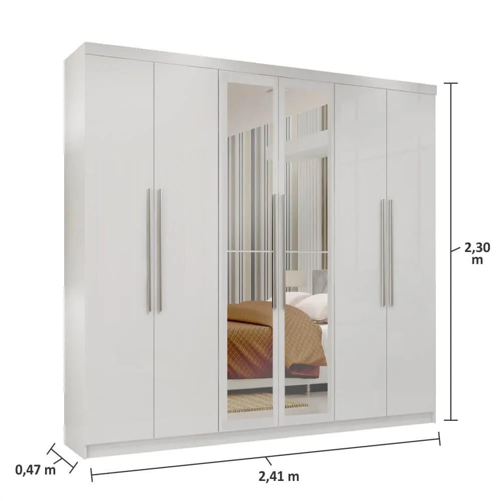 Guarda Roupa Casal com Espelho Montreal Mapi Móveis 6 Portas 3 Gavetas - Branco