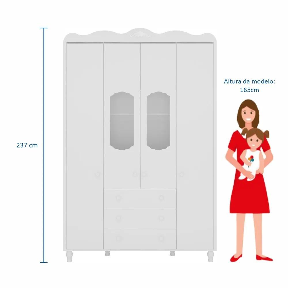 Guarda Roupa de Bebê Sonhare Fiorello 4 Portas e 3 Gavetas - Branco Acetinado