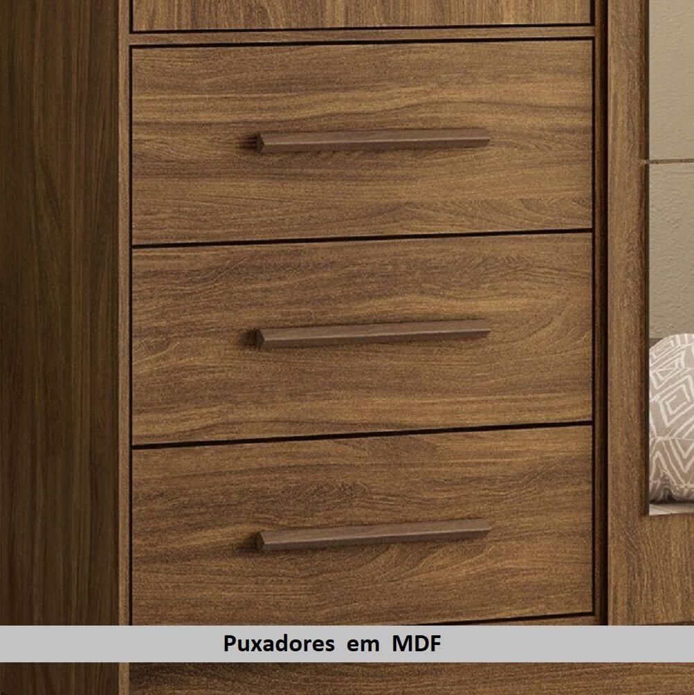 Guarda Roupa Casal com Espelho Estrela Mapi Móveis 4 Portas e 6 Gavetas - Nogueira