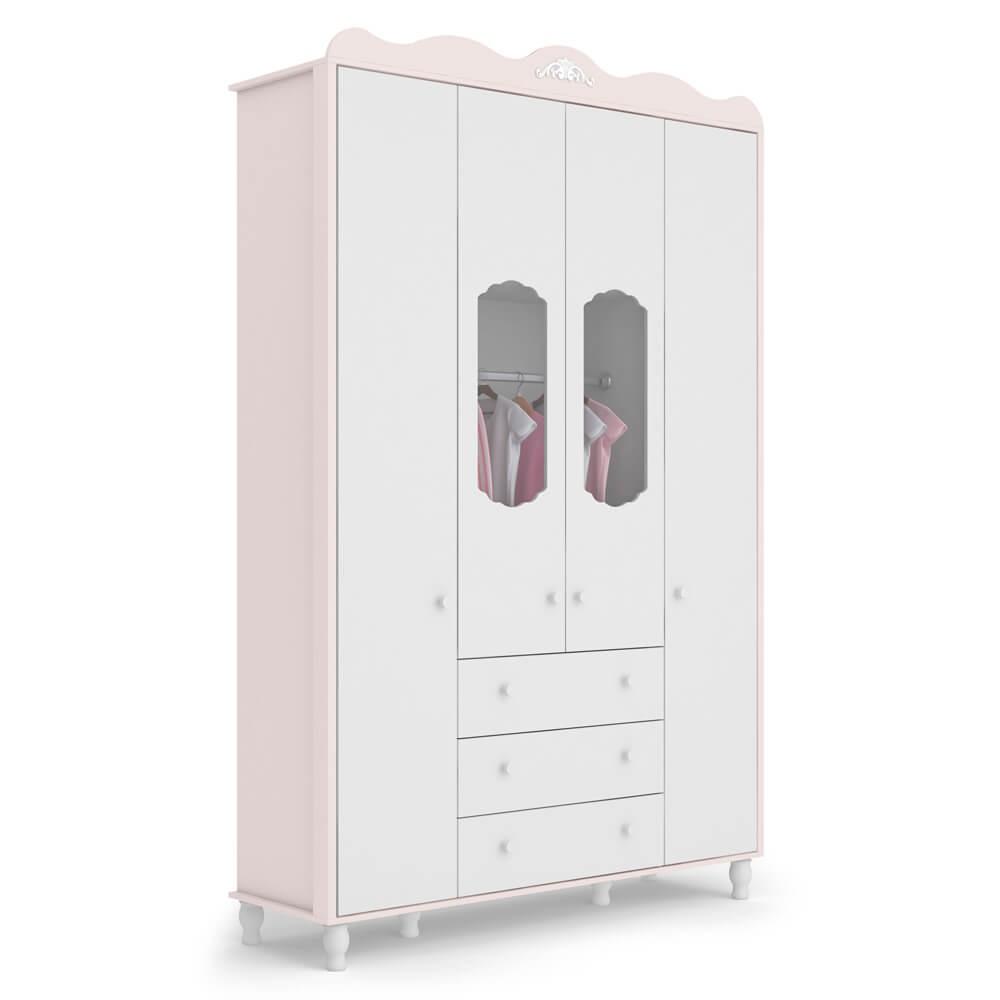 Guarda Roupa Infantil Sonhare Móveis Fiorello 4 Portas e 3 Gavetas - Rose Quartz