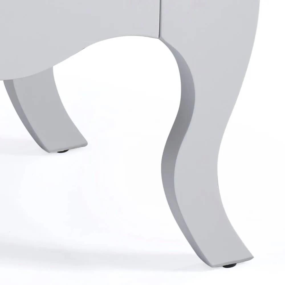 Mesa de Cabeceira Bombê com Tampo Amadeirado 2 Gavetas - Laca Branca/Imbuia Glazer