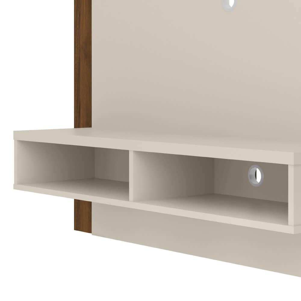 Painel Home Capri Smart para TVs de até 43 polegadas Linea Brasil - Off White/Nogueira