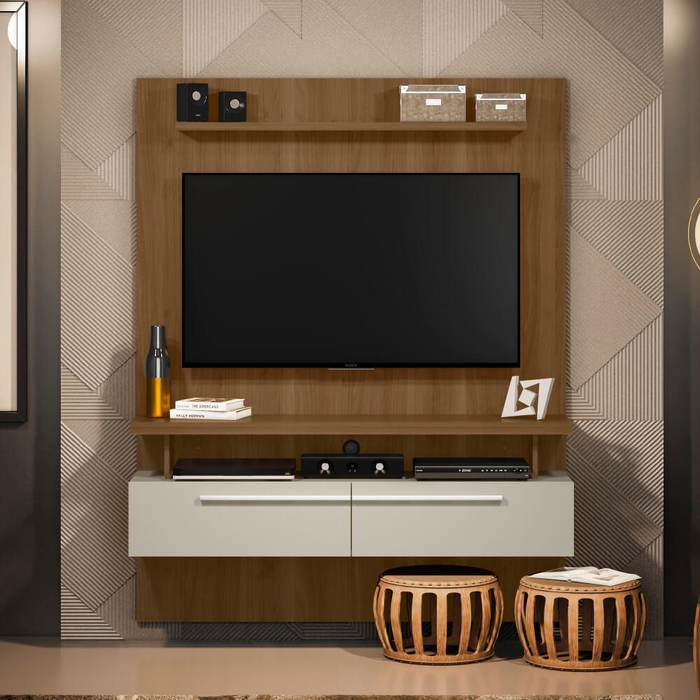 """Painel Home para TVs de até 60"""" New Caju Linea Brasil - Avelã/Off White"""