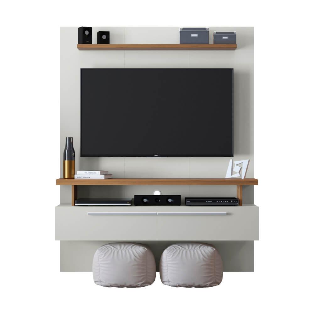 """Painel Home para TVs de até 60"""" New Caju Linea Brasil - Off White/Nogueira"""