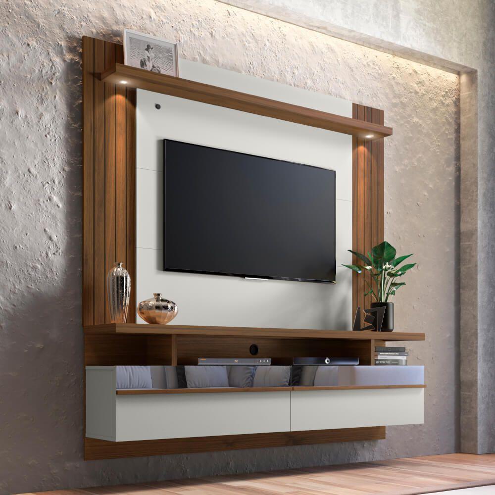 """Painel Home para TV até 60"""" São Luis 1.8 Linea Brasil - Off White/Nogueira"""
