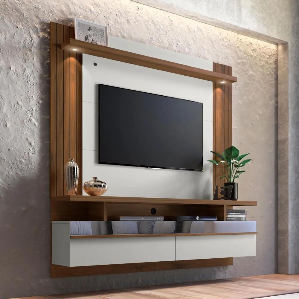 """Painel Home para TV até 65"""" São Luis 2.2 Linea Brasil - Off White/Nogueira"""