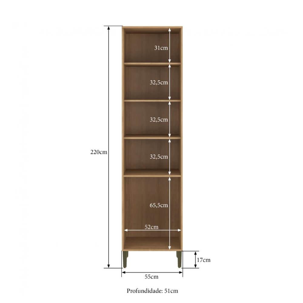 Paneleiro Cozinha Áustria 2829 55cm 2 Porta Casamia - Nogueira