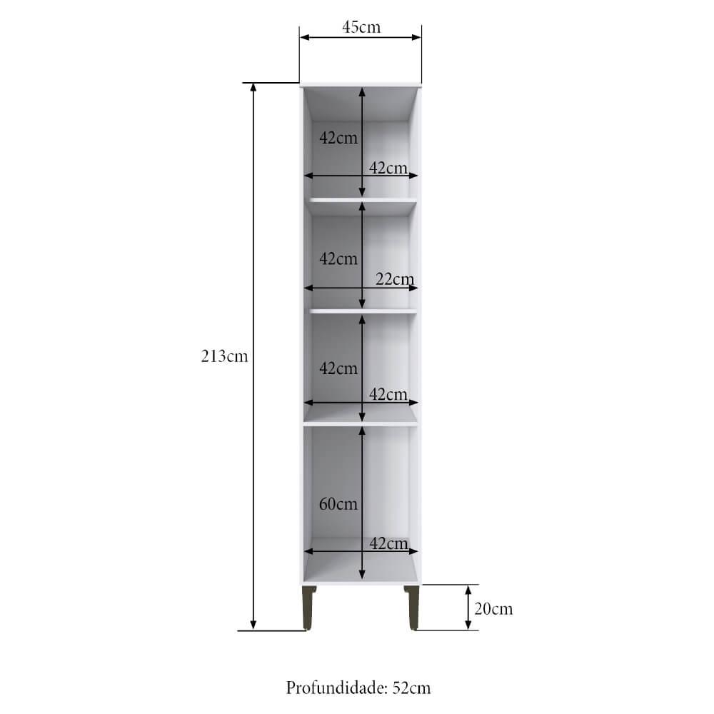 Paneleiro Cozinha Casablanca 3429 Casamia com 3 Portas e 3 Prateleiras - Branco Acetinado