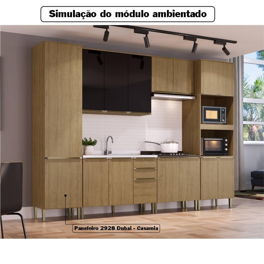 Paneleiro Cozinha Dubai Casamia 2928 com 2 Portas e 3 Prateleiras - Nogueira