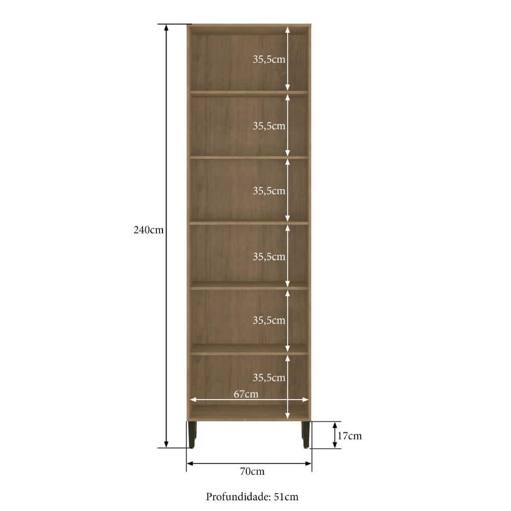 Paneleiro Duplo Cozinha Dubai Casamia 2935 com 4 Portas e 4 Prateleiras - Nogueira