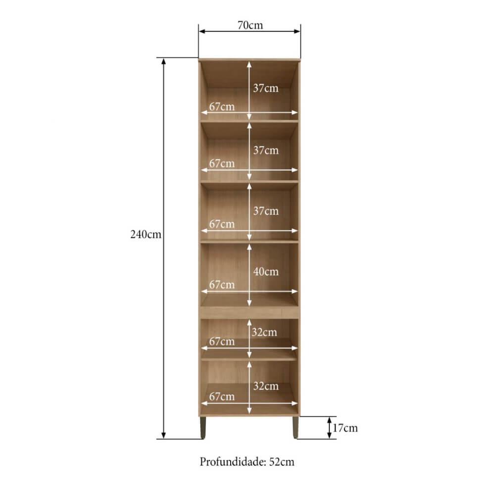 Torre Quente 4 Portas 3 Prateleiras e Espaço para Forno Cozinha Dubai 2914 Casamia - Nogueira