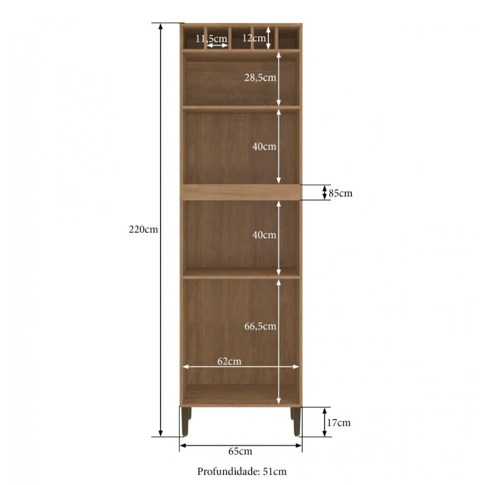 Torre Quente Cozinha Áustria 2803 65cm 4 Porta Casamia - Nogueira