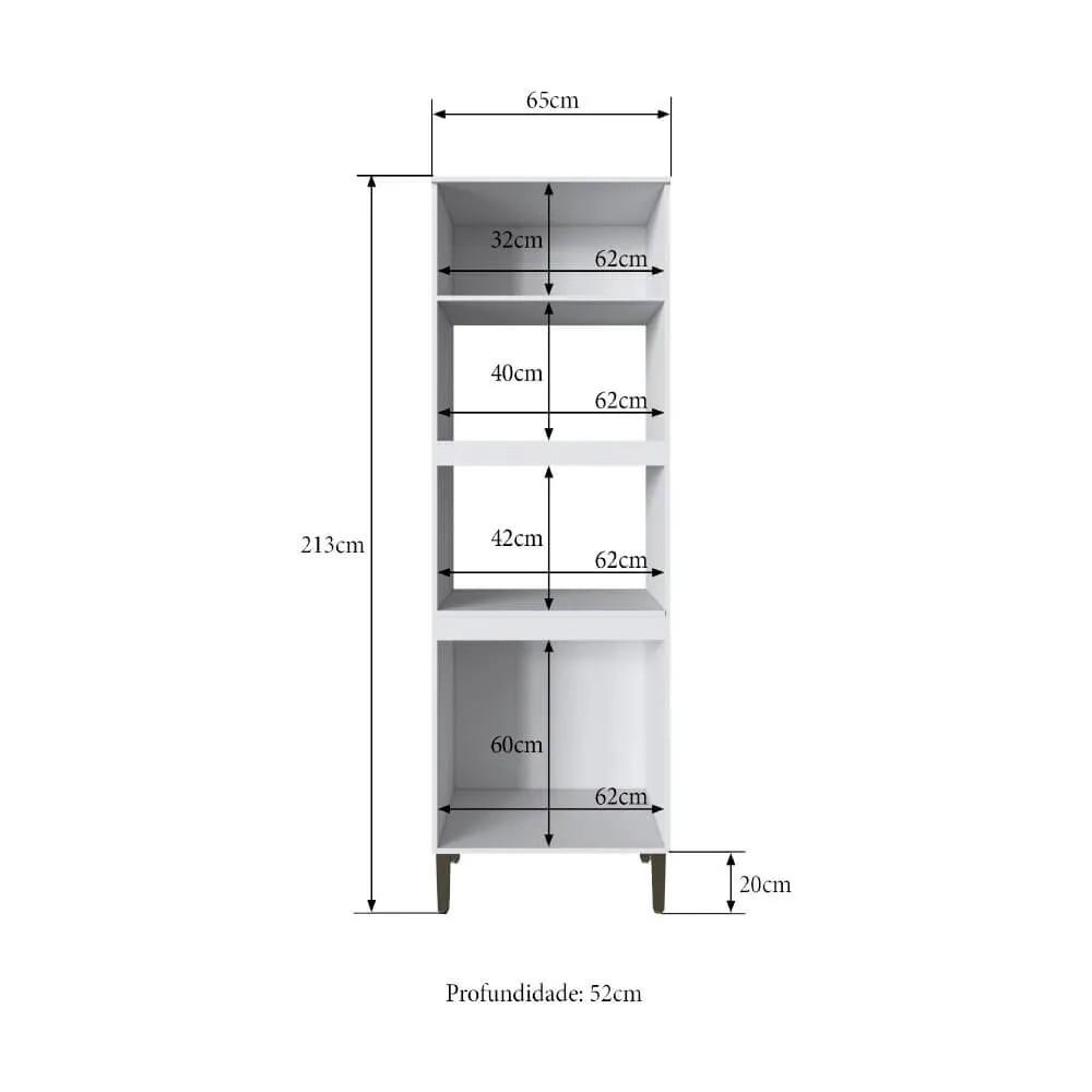 Torre Quente Cozinha Casablanca 3403 Casamia com 4 Portas Espaços para Forno e Micro-ondas - Branco Acetinado