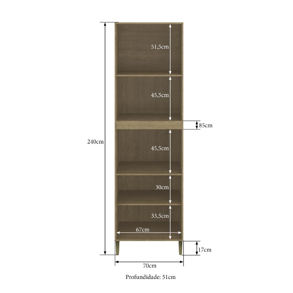 Torre Quente Dubai Casamia 2915 com 4 Portas Espaços para Forno e Micro-ondas - Nogueira