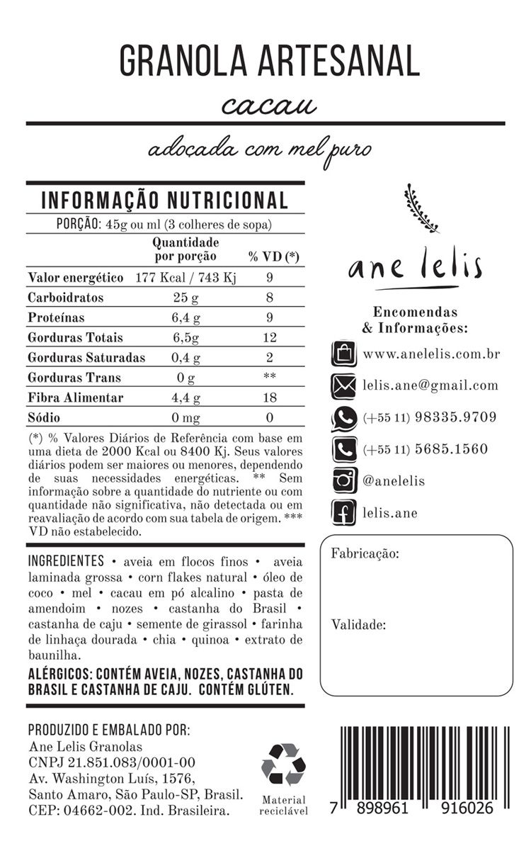 granola de cacau sem açúcar  500g  Ane Lelis