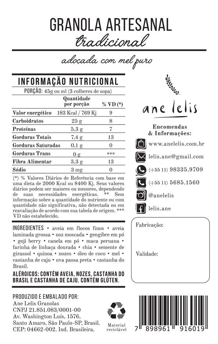 granola tradicional  500g  Ane Lelis