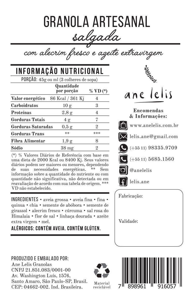 granola salgada  - 200g - Ane Lelis