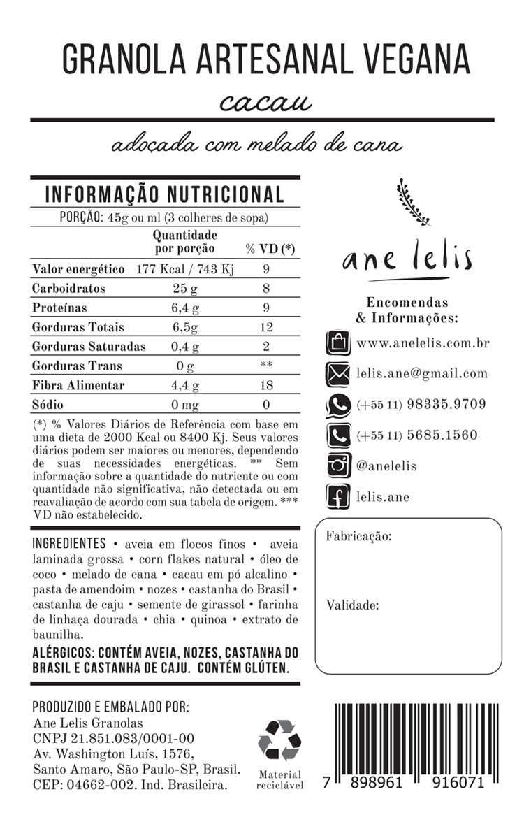 granola de cacau vegana  500g  Ane Lelis