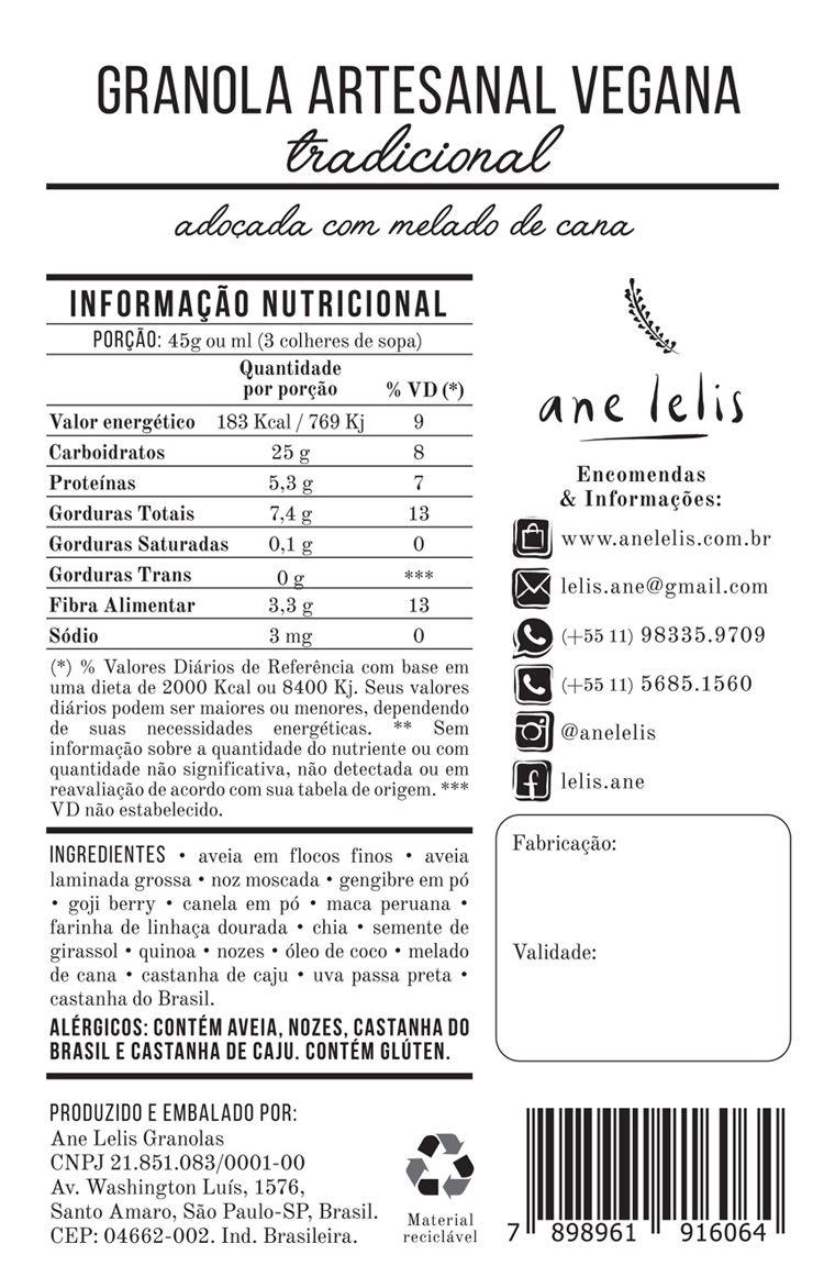 granola  tradicional vegana 500g Ane Lelis