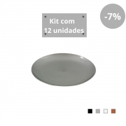 Kit com 12 Pratos Sobremesa em Plástico Zeek Linha Style