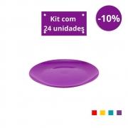 Kit com 24 Pratos Sobremesa em Plástico Zeek Linha POP