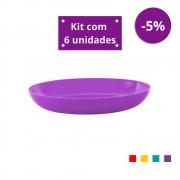 Kit com 6 Pratos Fundos em Plástico Zeek Linha POP