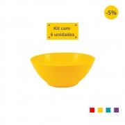 Kit com 6 Tigelas Saladeira 1,8l em Plástico Zeek Linha POP