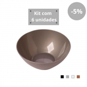 Kit com 6 Tigelas Saladeira 1,8l em Plástico Zeek Linha Style